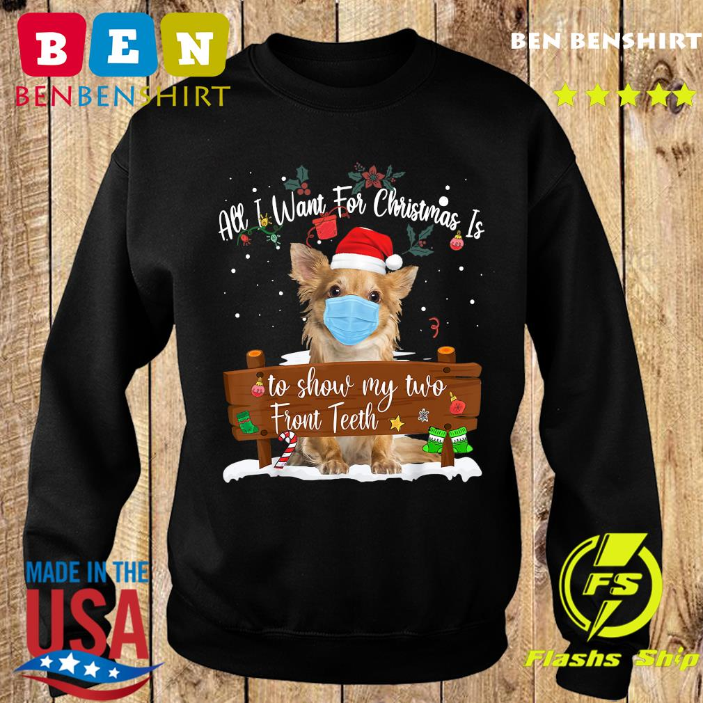 Pomeranian Dog Face Mask Call I Want For Christmas Is To Show My Turo Front Teeth Merry Christmas Sweatshirt