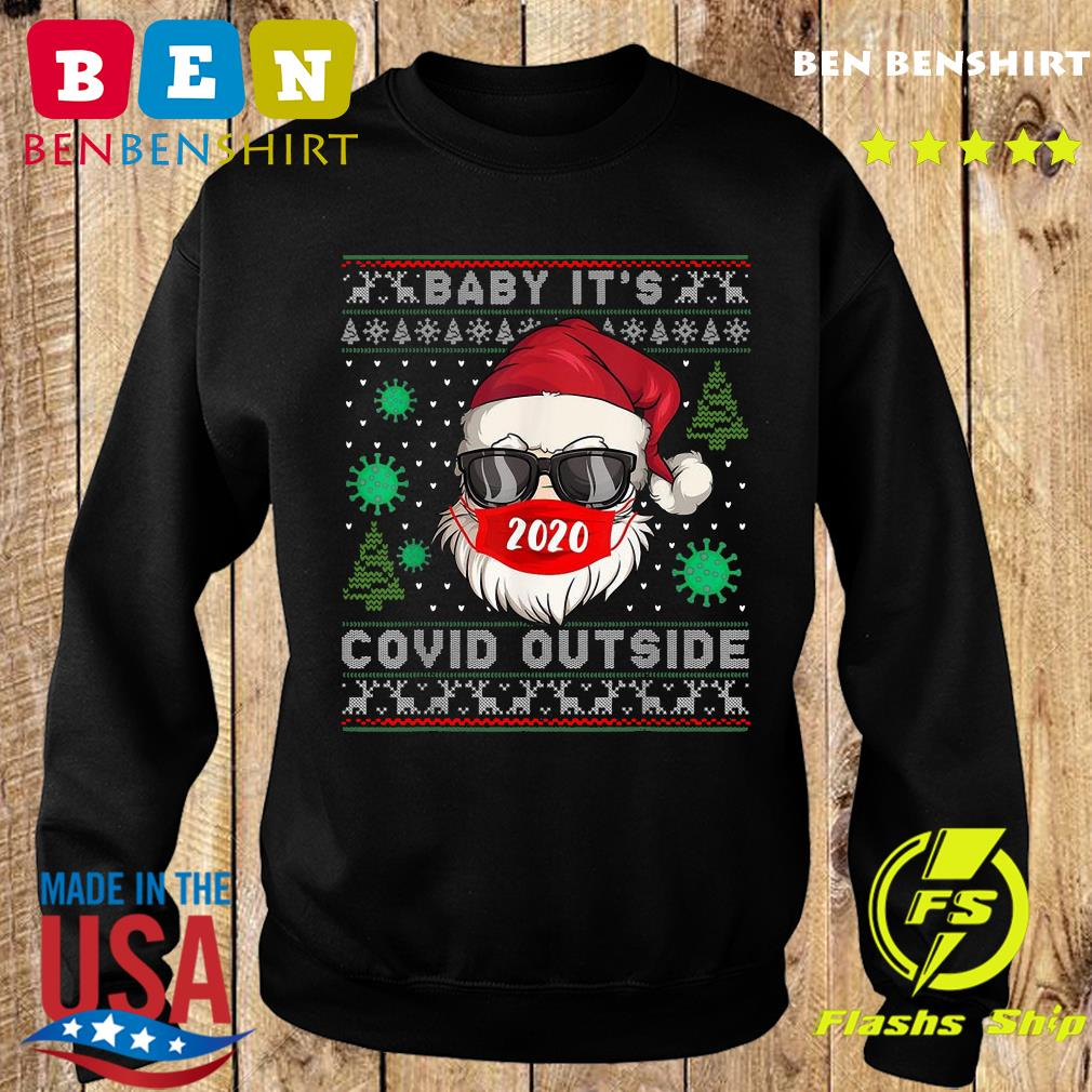 Santa Claus Face Mask 2020 Baby It's Covid 19 Outside Merry Christmas Ugly Sweatshirt