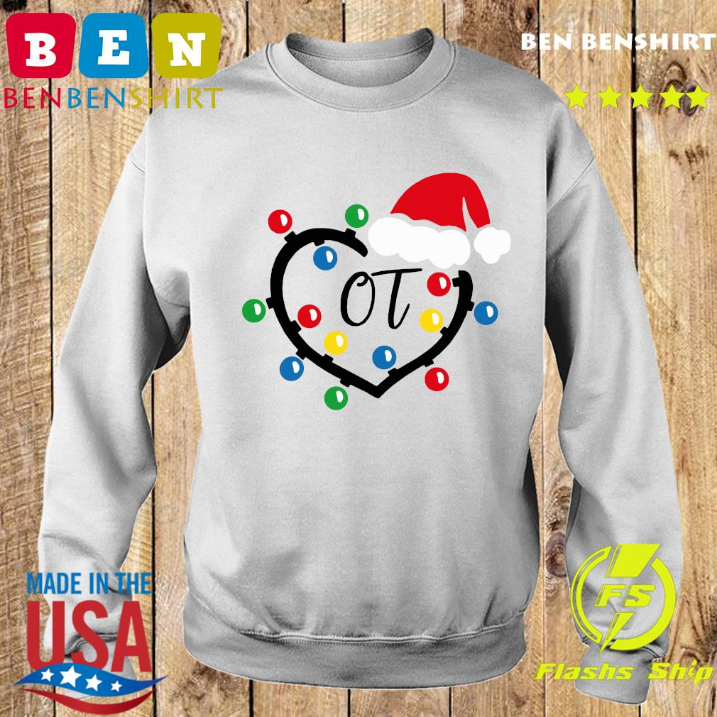 Santa Hat Heart OT Merry Christmas Light Sweatshirt