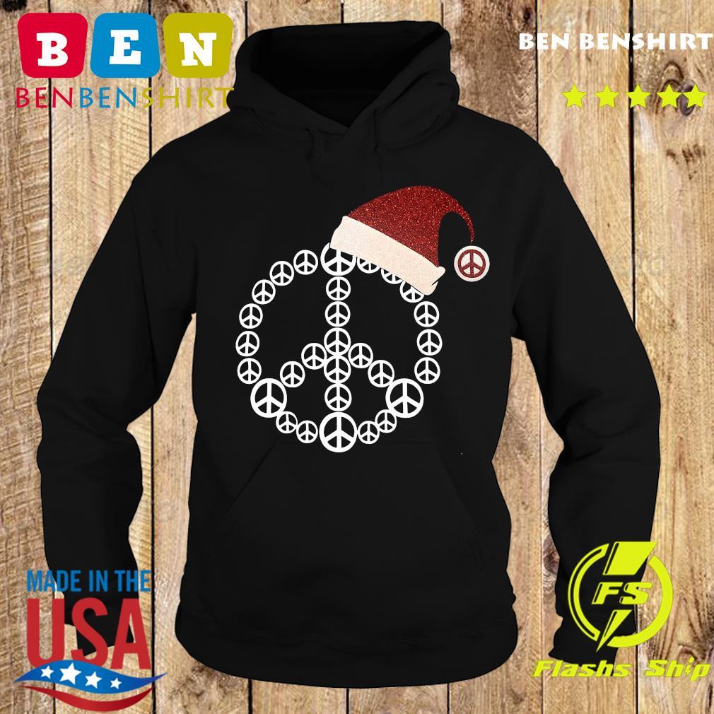 Santa Hat Peace Merry Christmas Sweats Hoodie