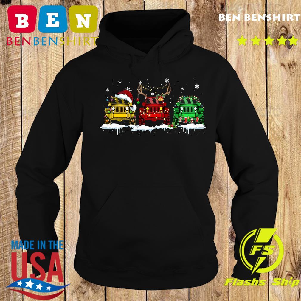 Three Jeep Santa Merry Christmas Light Sweats Hoodie