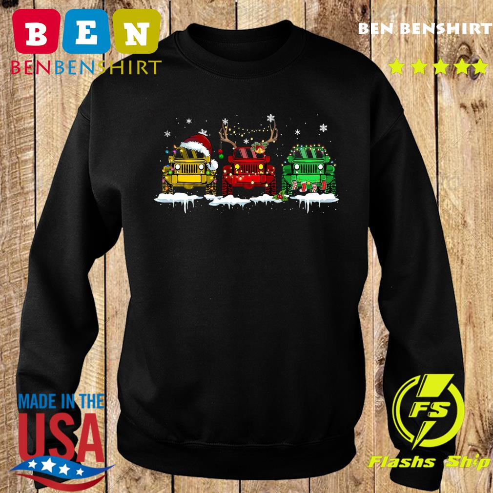 Three Jeep Santa Merry Christmas Light Sweatshirt