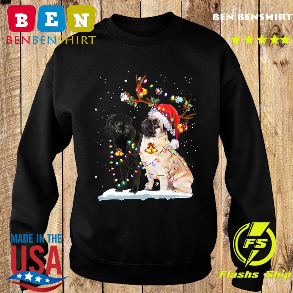 Xmas Pug Santa Merry Christmas Light Sweatshirt