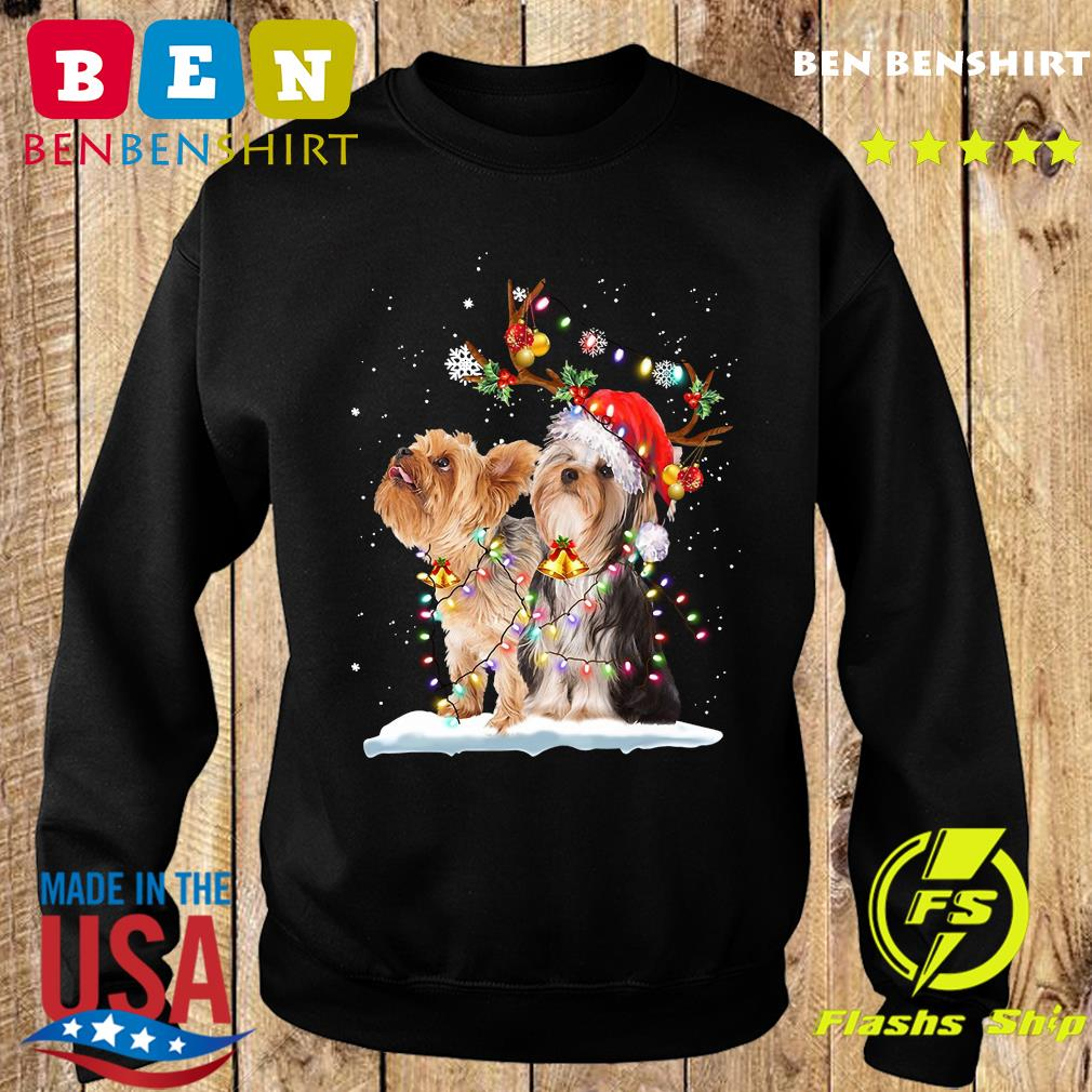 Yorkshire Terrier Santa Xmas Merry Christmas Light Sweatshirt