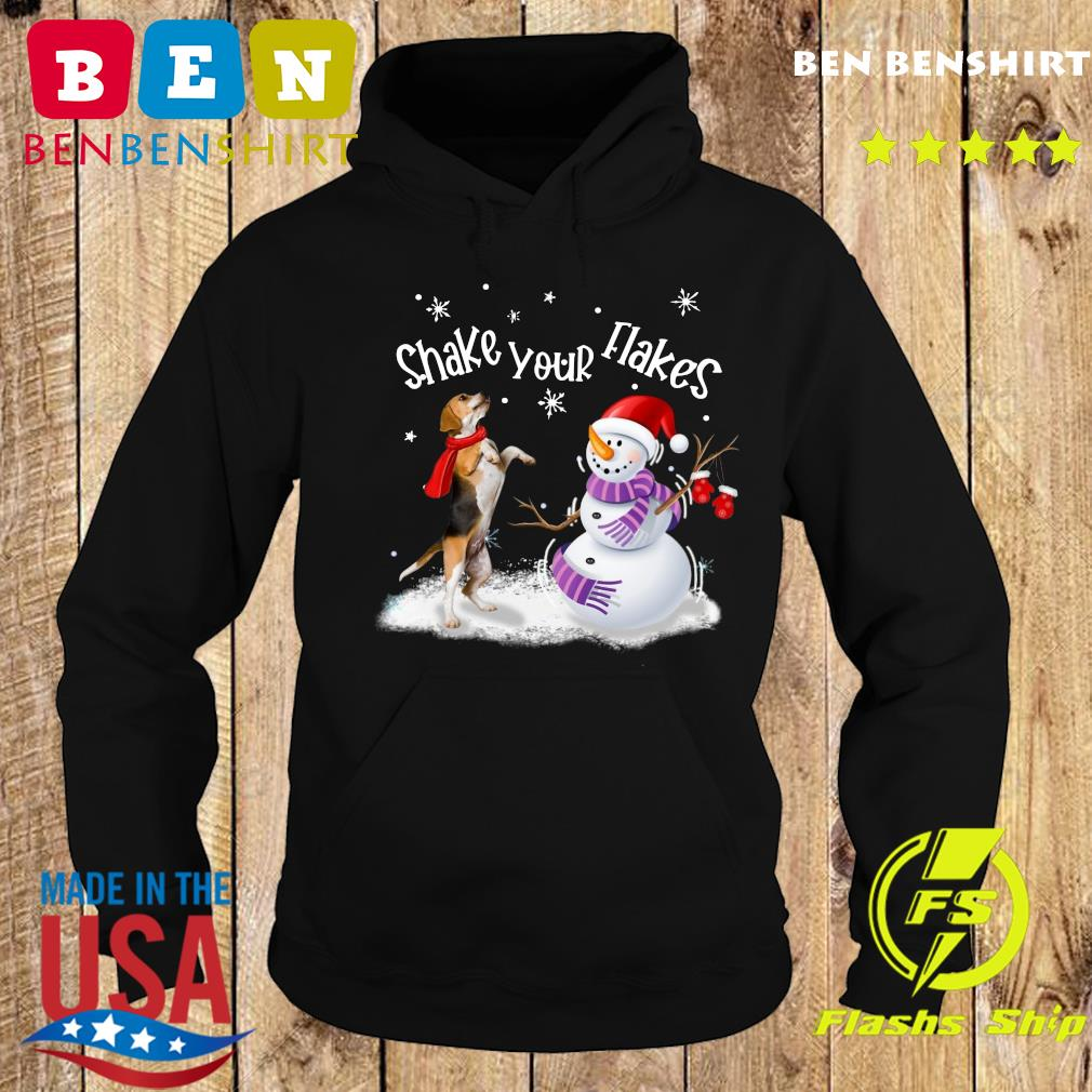 Beagle And Snowman Shake Your Flakes Merry Christmas Sweats Hoodie