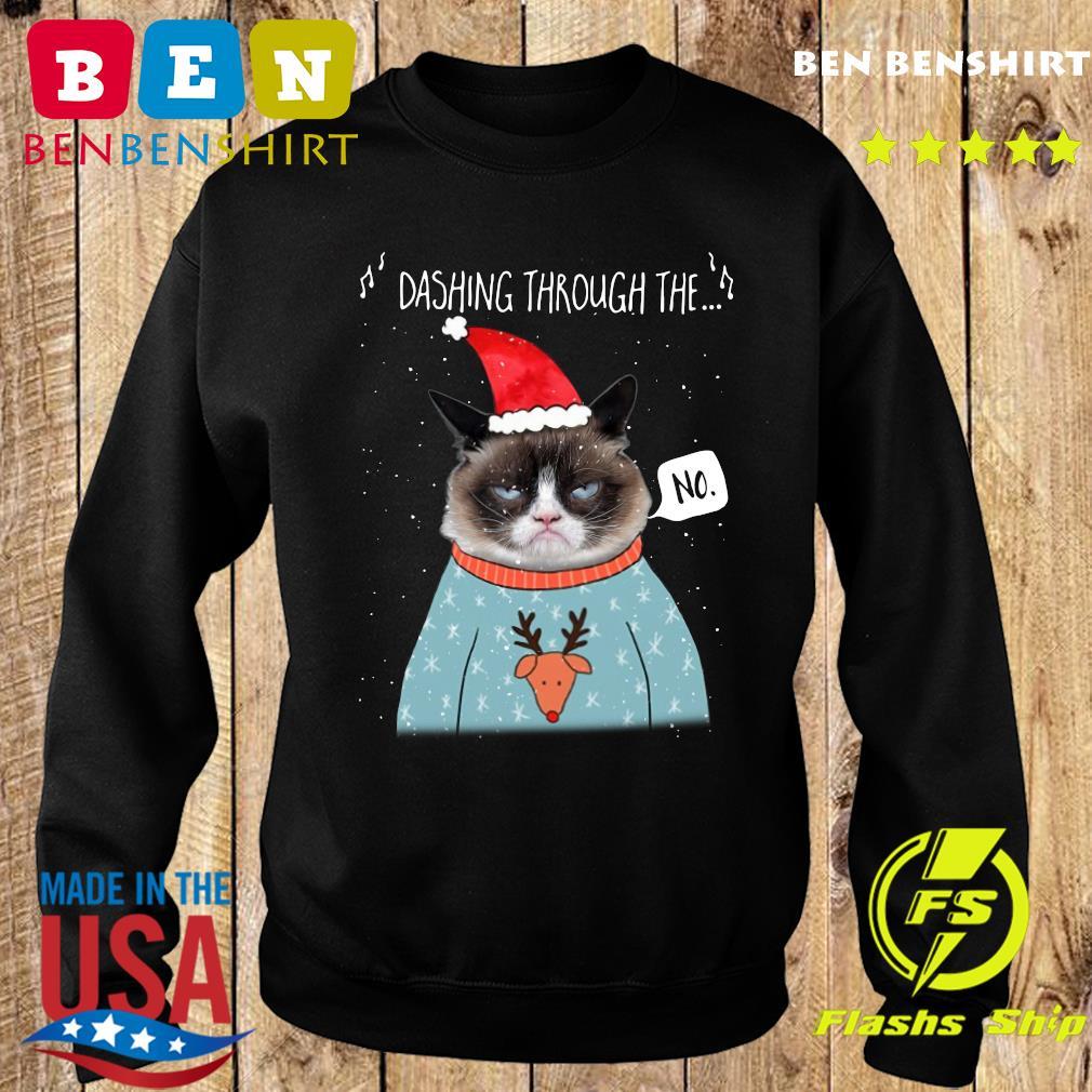 Cat Santa Dashing Through The No Merry Christmas Sweatshirt