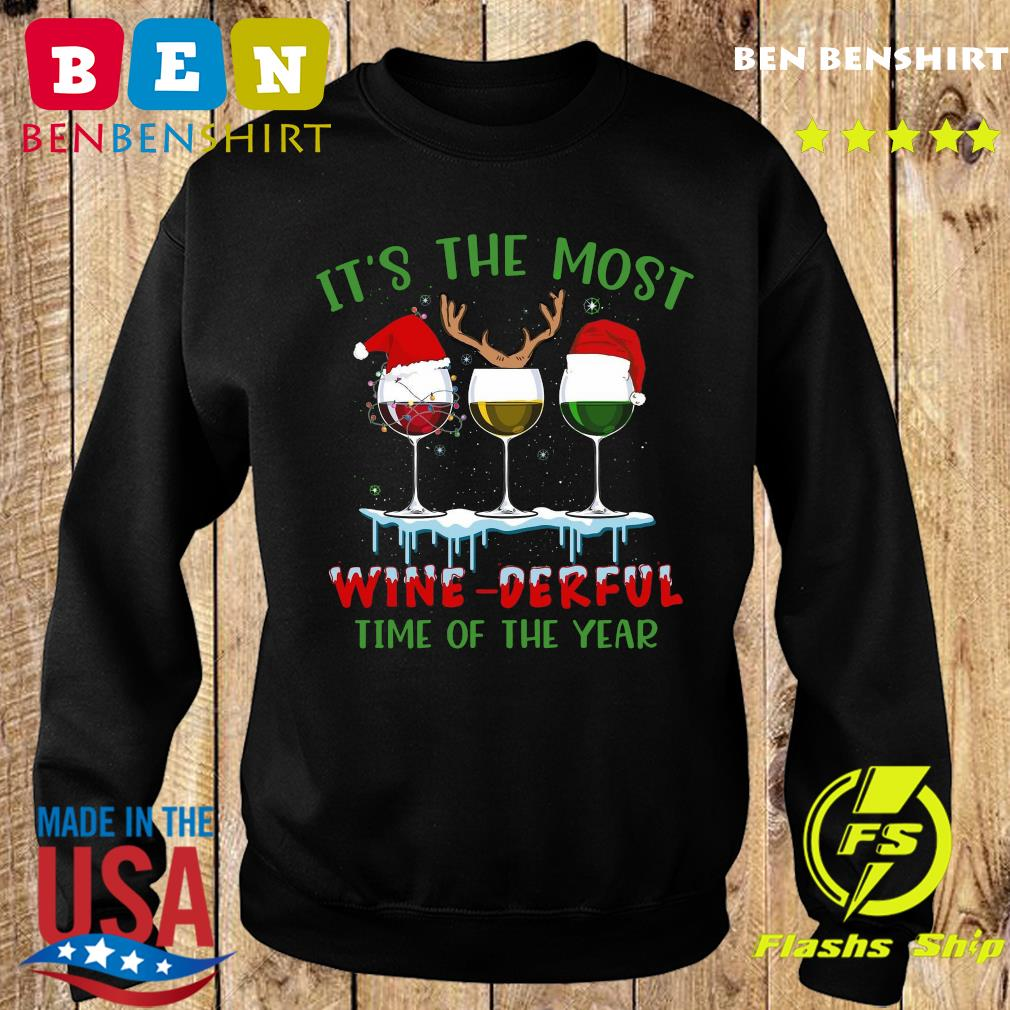 It's The Most Wine derful Time Of The Year Merry Christmas Light Sweatshirt