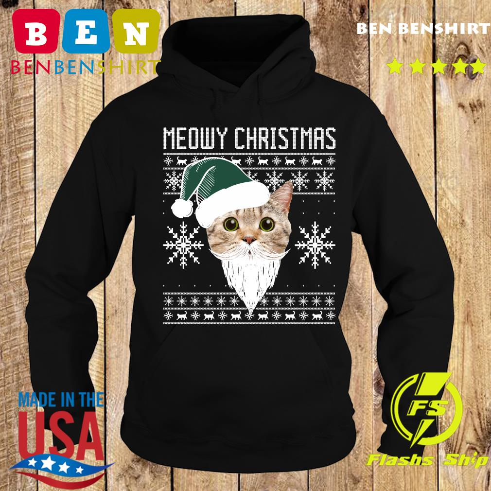 Meowy Christmas Santa Ugly Christmas Sweats Hoodie