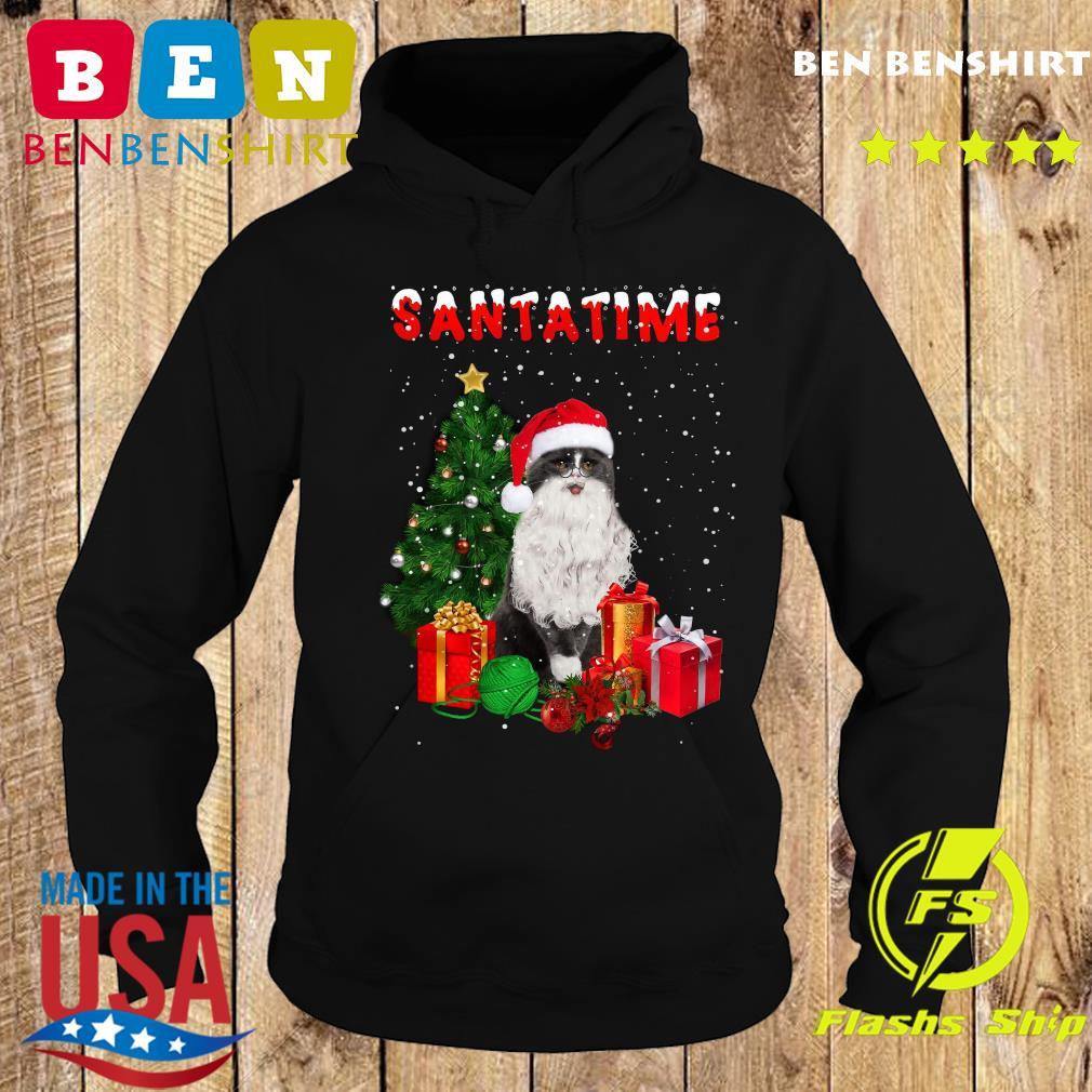 Santatime Cat Merry Christmas Tree Gift Sweats Hoodie