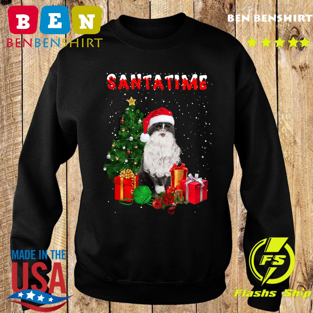 Santatime Cat Merry Christmas Tree Gift Sweatshirt