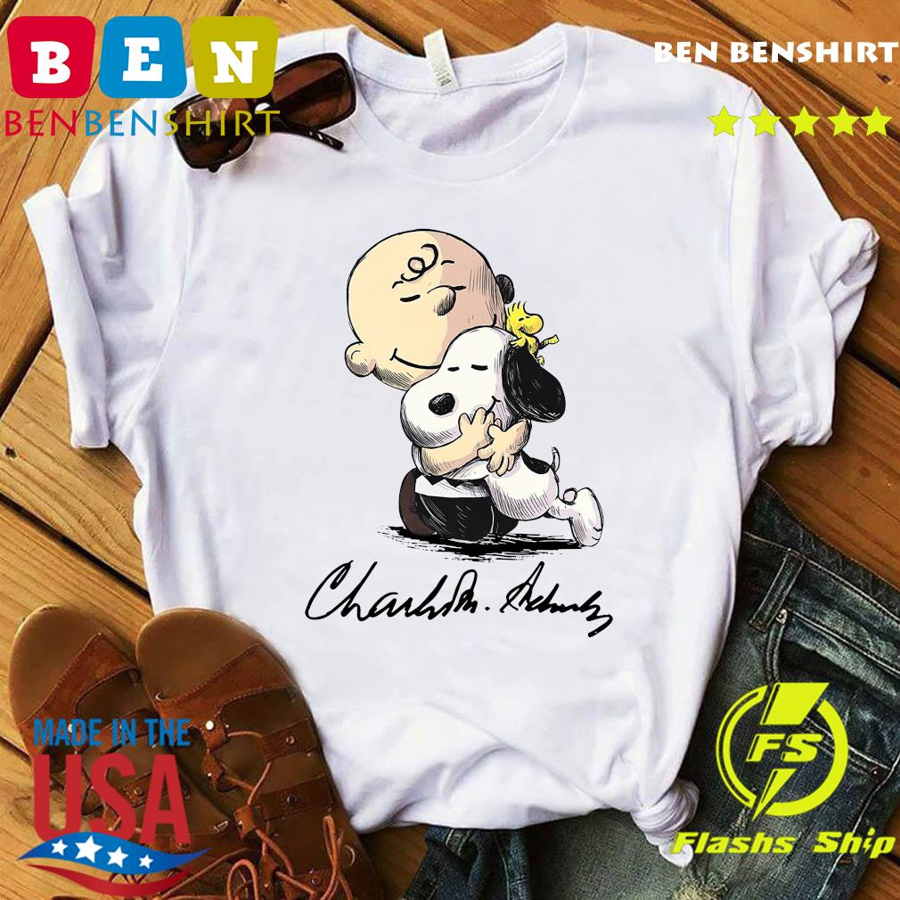 The Peanuts Snoopy Hug Charlie Brown And Woodstock Signature Shirt